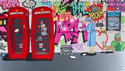 Graffiti Queen and a Cash Machine by Dylan Izaak -  sized 42x24 inches. Available from Whitewall Galleries